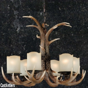6-Light Lodge Cast Antler Chandelier