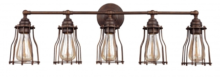 Parisian Bronze Edison Nautical 5 Light Cage Vanity Light