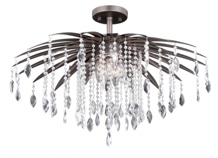"Etrienne 24"" Modern Crystal Bronze Semi Flush Chandelier"