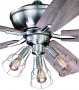 "52"" Edison Stainless Ceiling Fan w/ Industrial Cage Light"