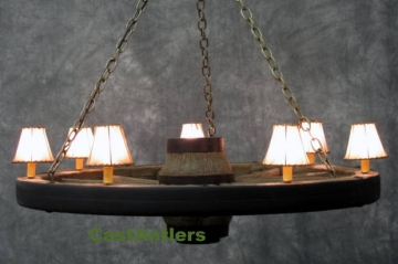 "42"" Reproduction/Cast Wagon Wheel Chandelier w/ Rawhide Shades"