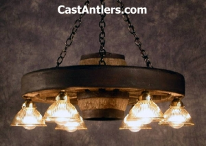 "30"" Downlight Reproduction/Cast Wagon Wheel Chandelier"