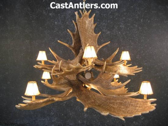 Moose 10 Cast Antler Chandelier w/ Downlight + Rawhide Shades