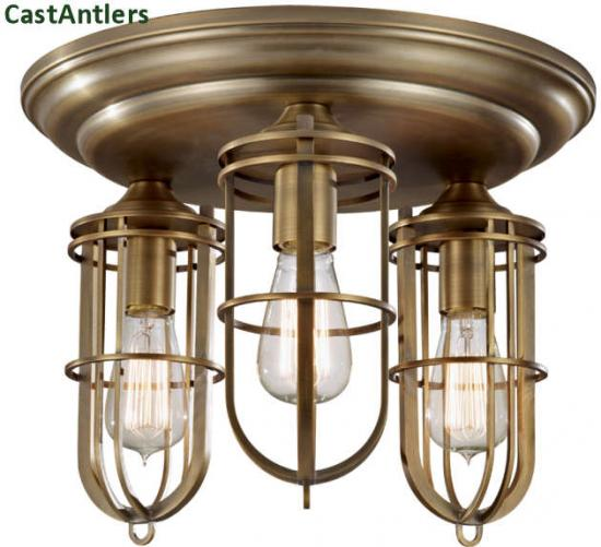 Industrial Flush Mount - Dark Antique Brass