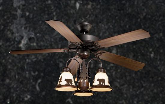 Rustic Ceiling Fan - 52 inch Wilderness w/ Light Kit (Multiple Scene Options)