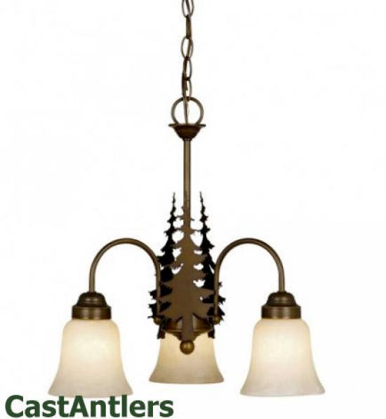 Yukon 3-Light Chandelier w/ Pine Trees