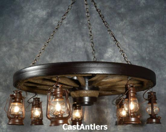 "42"" Hanging Lantern Reproduction Wagon Wheel Chandelier"