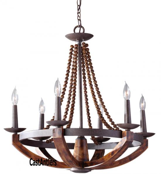 Rustic Wood 6 Light Single Tier Chandelier