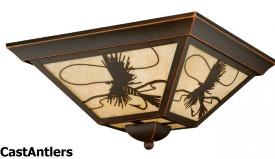 Fish Ceiling Light/ Amber Flake Glass