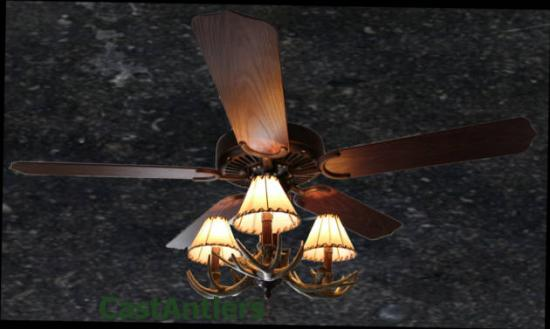 "52"" Stitched Shade Reproduction 3-Light Outdoor Antler Ceiling Fan"