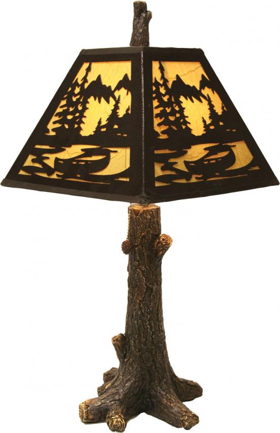 Rustic Tree Table Lamp with Metal Shade