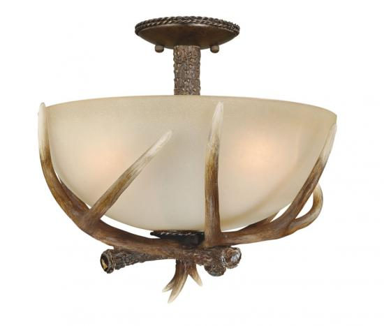 "16"" Semi Flush Faux Antler Light"