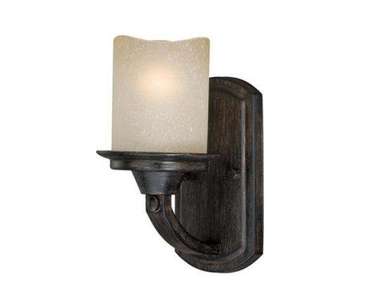 1-Light Black Walnut Rustic Vanity Light