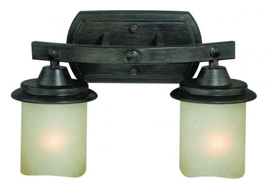 2-Light Black Walnut Vanity Light