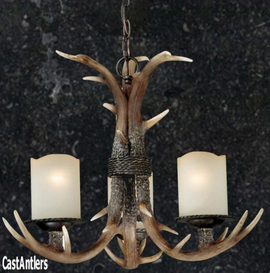 3-Light Lodge Cast Antler Chandelier