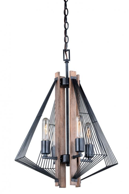 Dearborn Black Wood Edison Nautical Modern 4 Light Chandelier