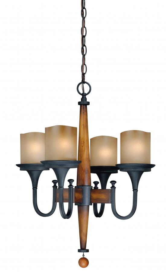 Rustic 4 Light Single Tier Chandelier with Frosted Glass Shades