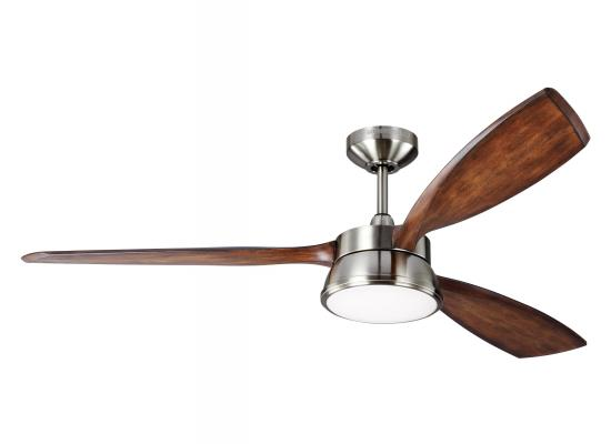 "57"" Mid Century Modern Outdoor/Indoor Downlight Rustic Ceiling Fan Brushed Steel"