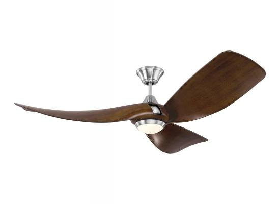 "56"" Mid Century Modern Outdoor/Indoor Ceiling Fan Brushed Steel"