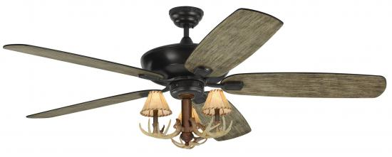"60"" 3 Light Antler Ceiling Fan Light Blades indoor/outdoor"