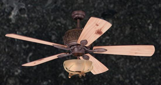 "52"" Mountain Knotty Lodge Rustic Ceiling Fan with Antler Light Bowl"