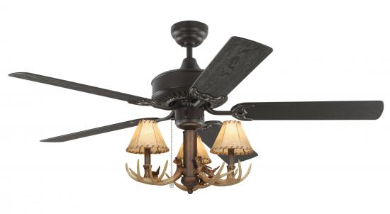 "FLUSH MOUNT 52"" Bronze Rustic Ceiling Fan - 3-Light Antler Indoor/Outdoor"