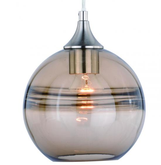 Transitional Contemporary Rustic Fog Glass Mini Pendant Satin Nickel