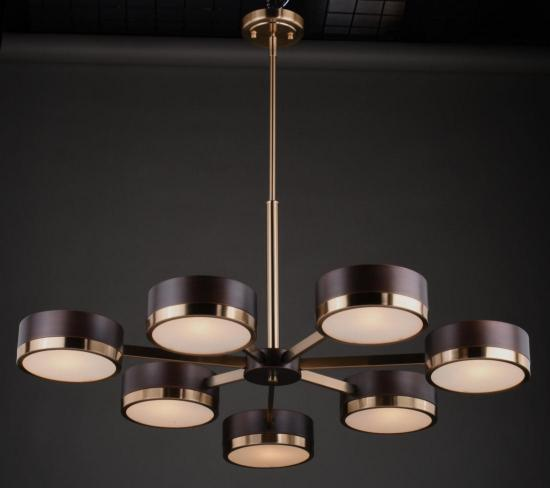 Mid Century Transitional Modern 7 Light Bronze and Brass Chandelier