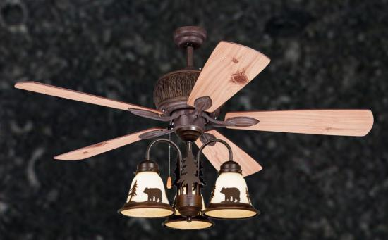 "52"" Mountain Knotty Lodge Rustic Ceiling Fan with Cabin Light Kit (Bear,Moose,Deer,Trees)"
