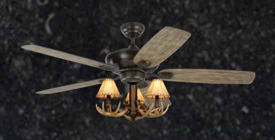"Rustic Aged Pewter Ceiling Fan - 52"" 3-Light Antler Indoor Farmhouse Cabin"