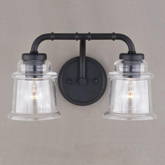 2-Light Black Farmhouse Vanity Light