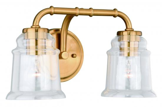 2-Light Natural Brass Retro Vanity Light
