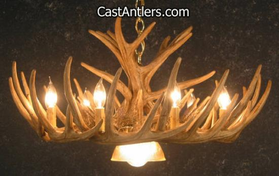 Whitetail 12 Cast Cascade Antler Chandelier w/ Downlight