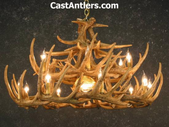 Whitetail 24 Cast Antler Chandelier w/ Downlight