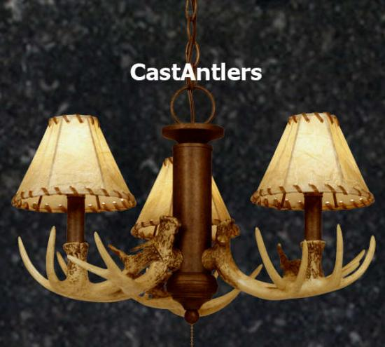 3-Light Cast Antler Chandelier