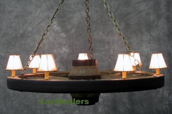 42 inch Lodge Wagon Wheel Chandelier w/ Rawhide Shades