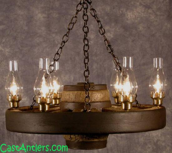30 inch Lantern Reproduction Rustic Wagon Wheel Chandelier