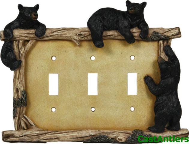 6 Pack Black Bear Triple Light Switch Plate Cover Western