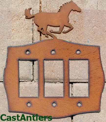 Horse Rocker Triple Light Switch Plate Cover Metal Western