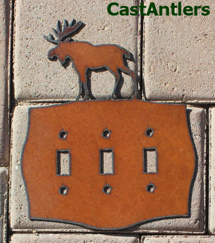 Moose Triple Light Switch Plate Cover Metal Western Rustic